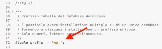 Prefisso tabelle WordPress