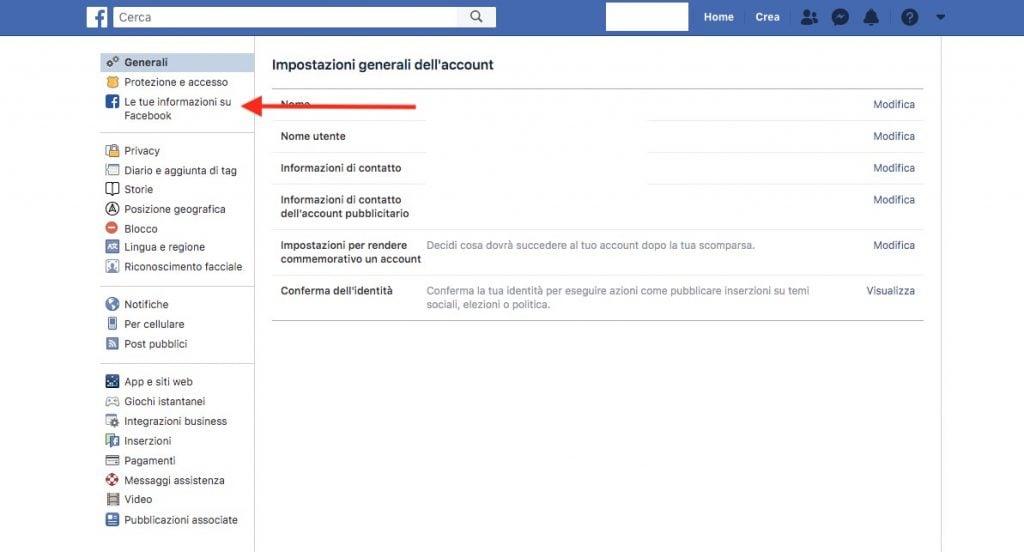 """Accedere al menù """"Le tue informazioni su Facebook"""" da PC"""